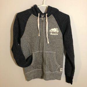 Roots heathered grey zip hoodie